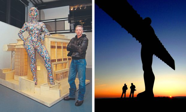 Left: Artist David Mach with a model of BioCollosus and DJCAD's Crawford building. Right: The Angel of the North.