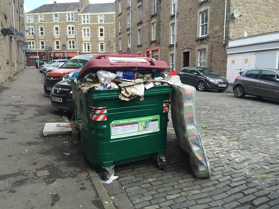 One of the overflowing bins on Blackness Street.