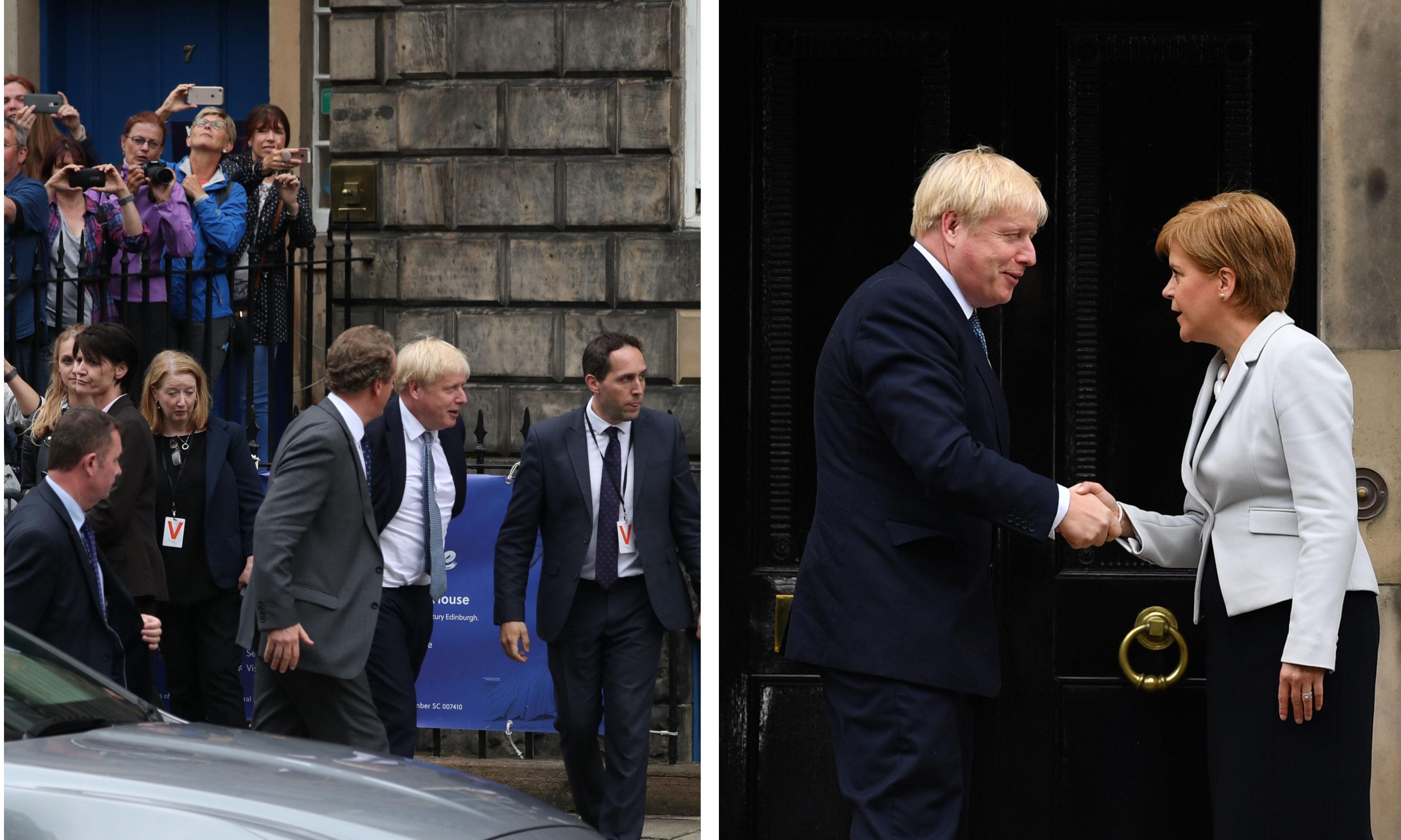 Boris Johnson arrives to meet Nicola Sturgeon at Bute House.