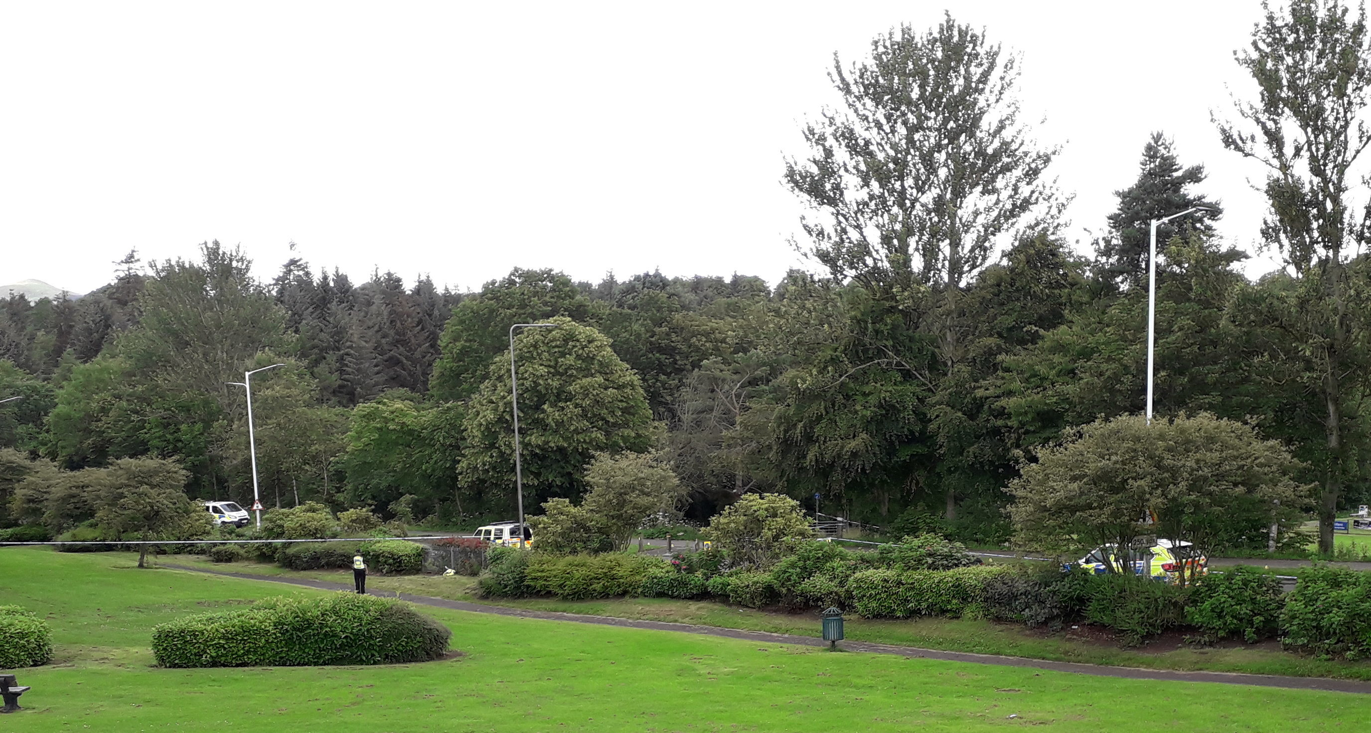 Parts of Riverside Park were cordoned off after the accident on Leslie Road, Glenrothes.