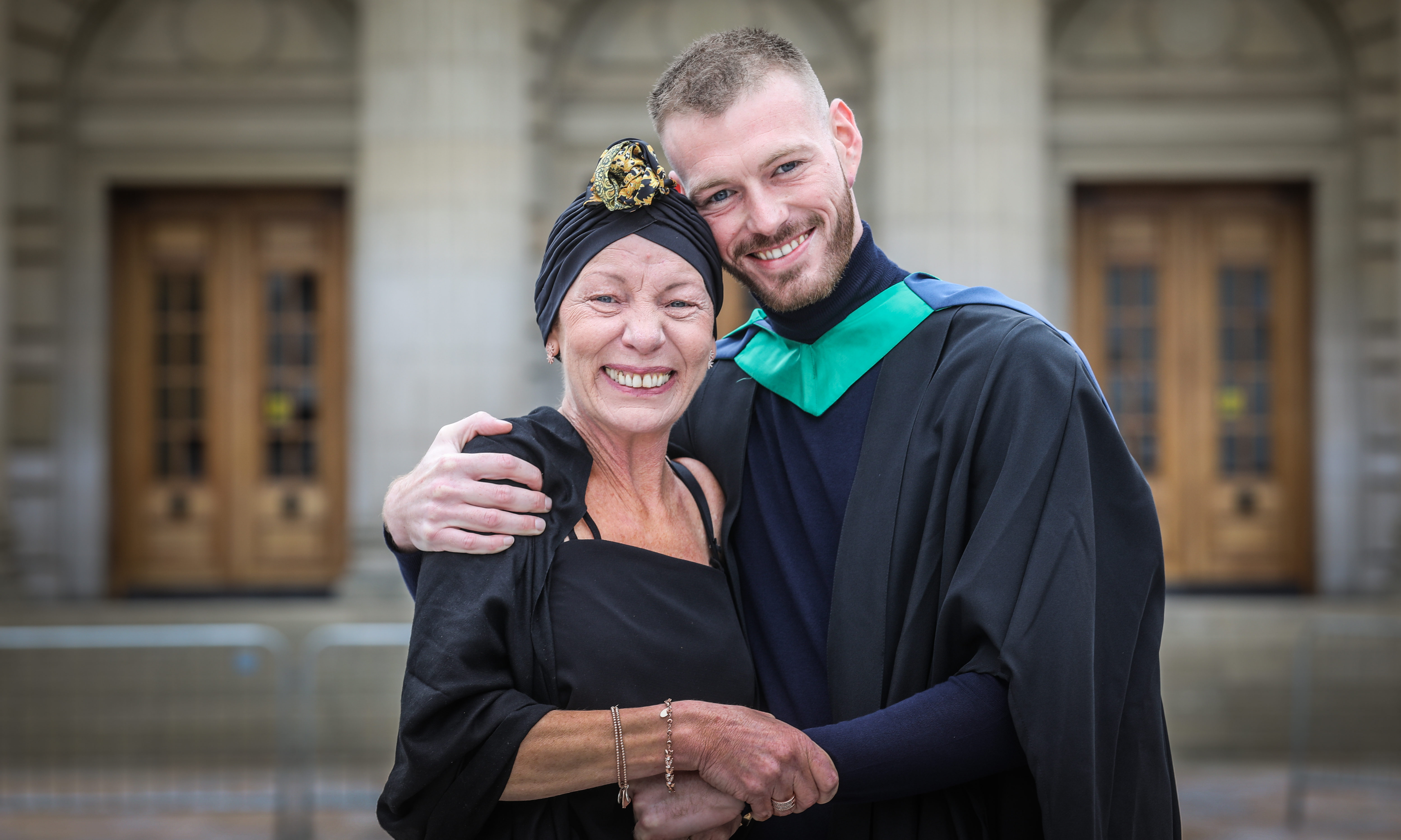 Matilda Latronico who is suffering from cancer, with son Sam Latronico, 27, from Perth who graduates in Ethnical Hacking.