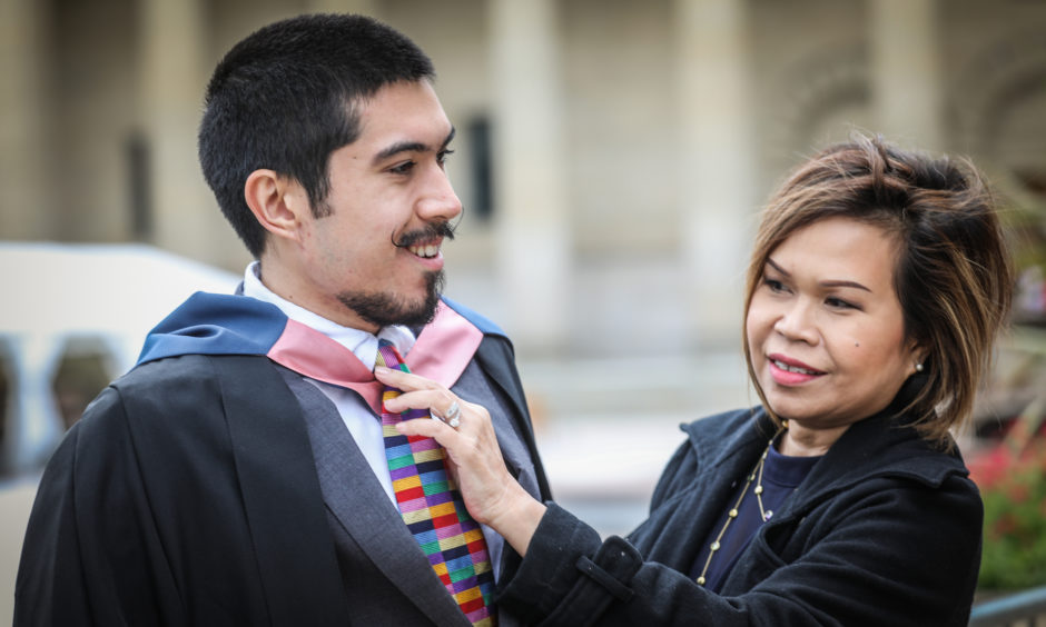 Luke Fornari, 22, graduates in Computer Arts from Inverness with mum Mairilou.