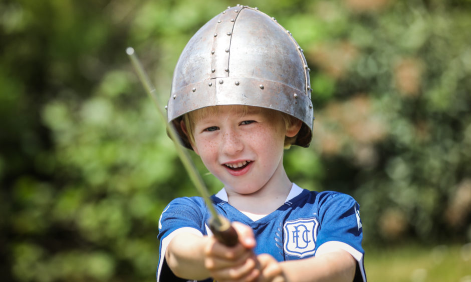 Brodie Swadel, 6, in some of the medieval gear.