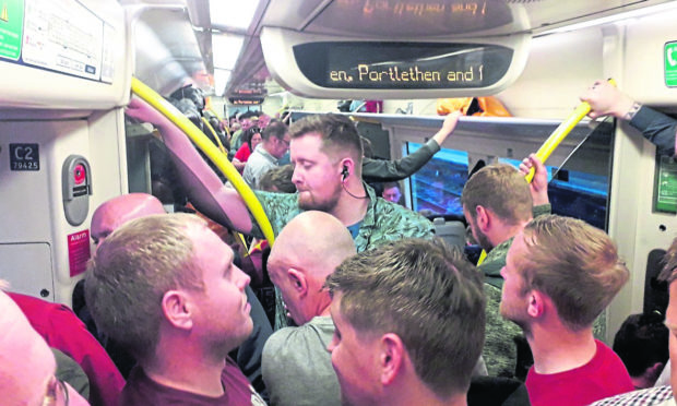 The 9pm train from Edinburgh was left packed.