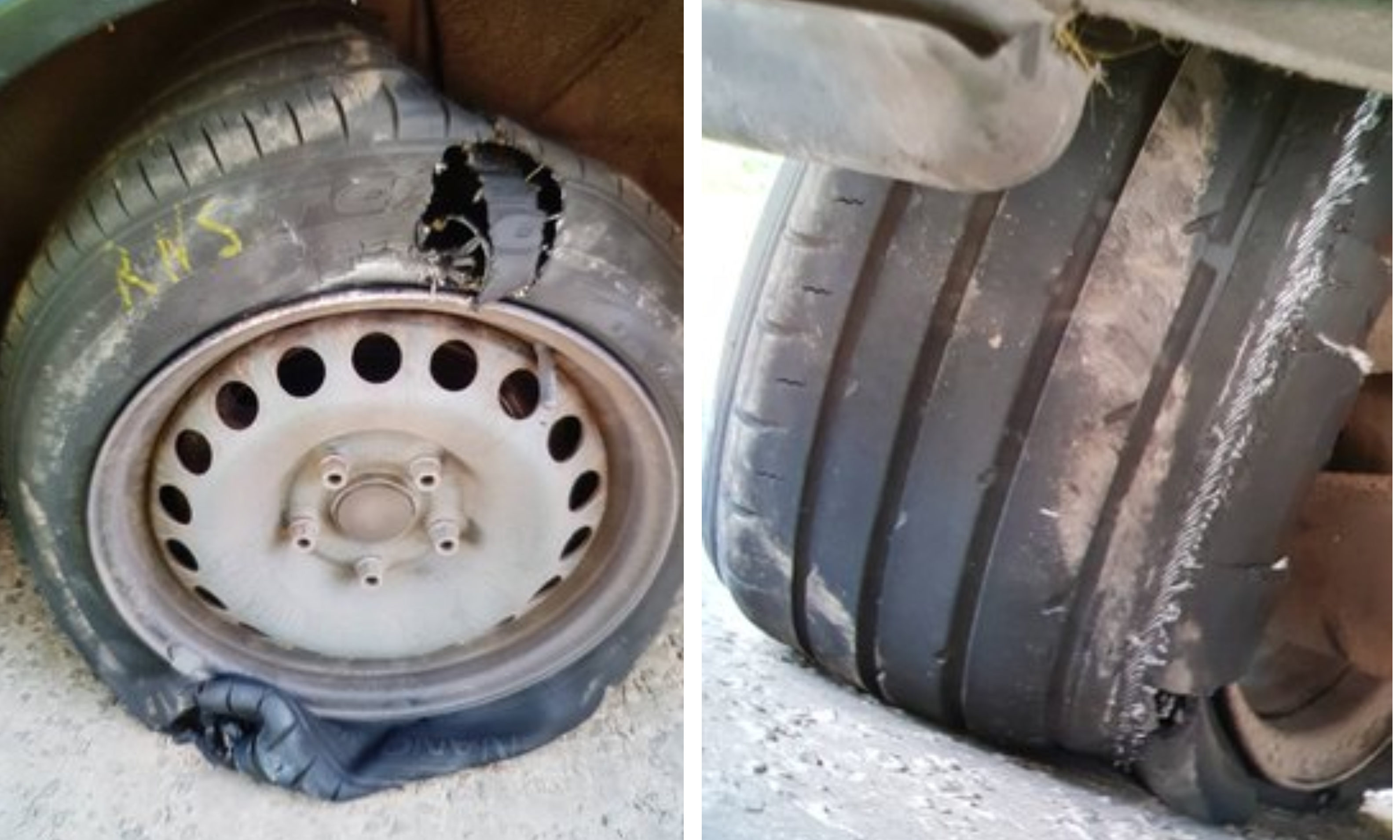Two of the tyres on the vehicle, which was seized by police.