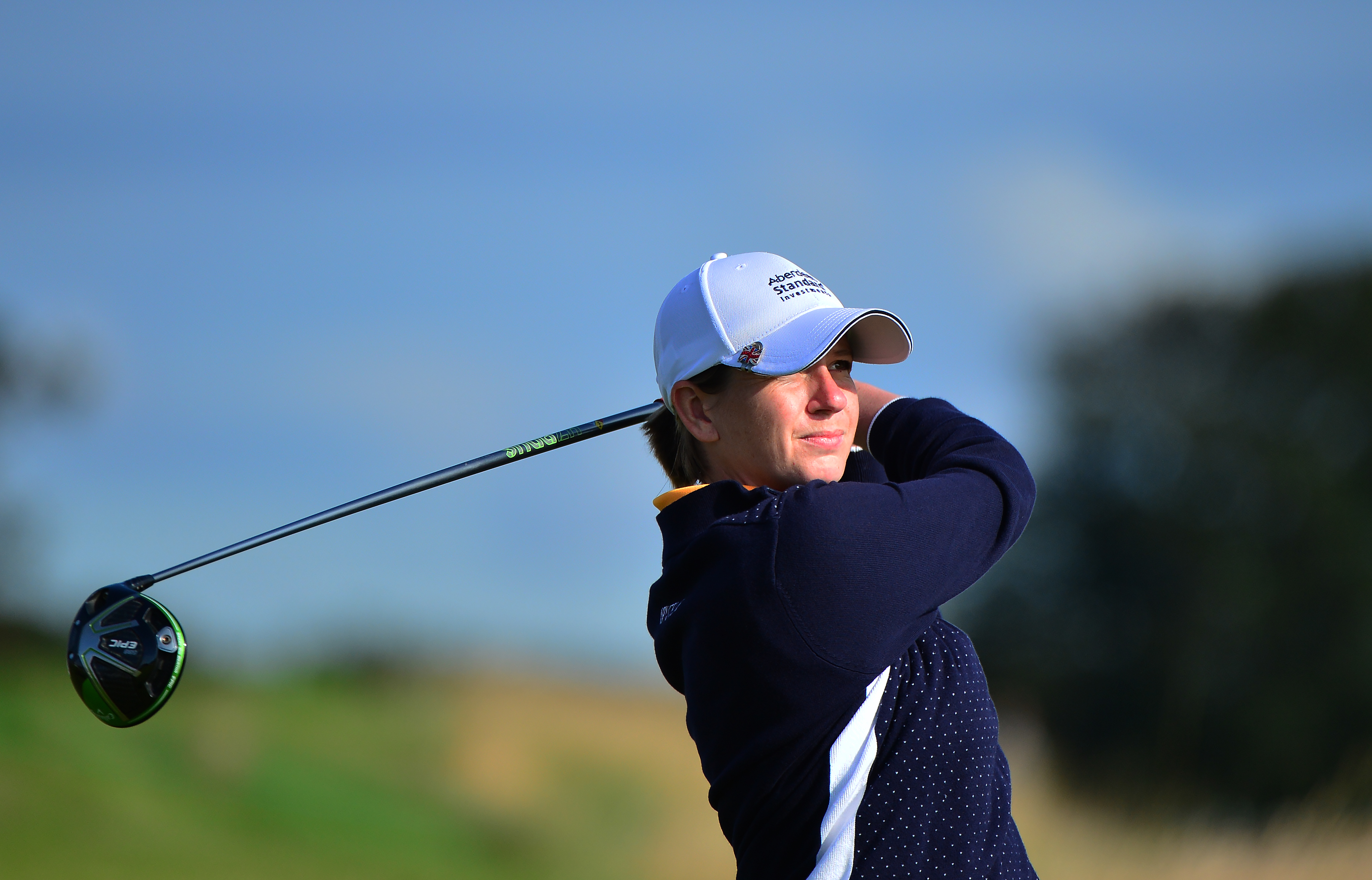 Pamela Pretswell Asher plays her tee shot to the 10th hole at the Aberdeen Standard Investment Ladies Scottish Open.
