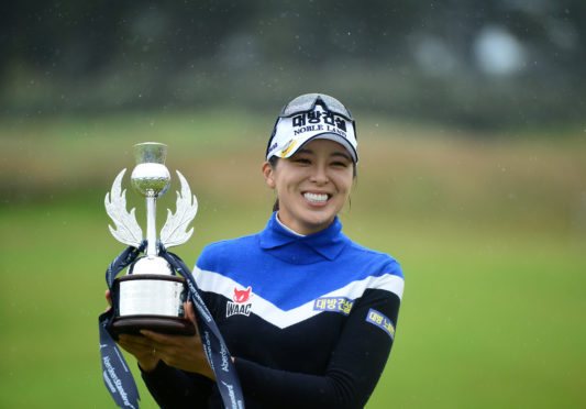 Mi Jung Hur of Korea with the trophy at the Aberdeen Standard Investment Scottish Open.