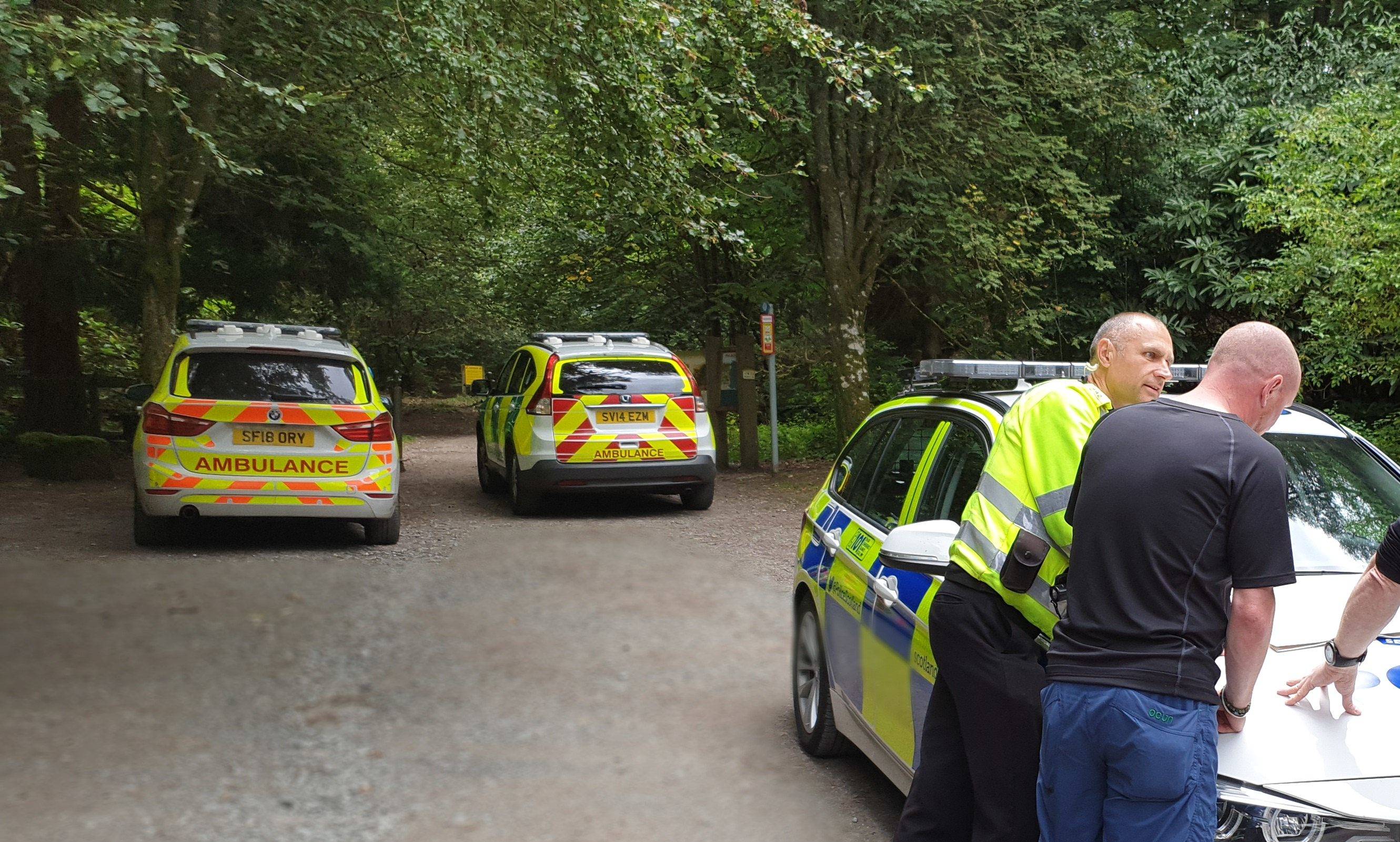 Police at the scene at The Birks of Aberfeldy.