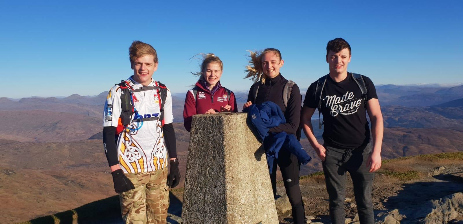 Left to right: Jamie McLaren, Emily McNicol, Miri Gunther, Ross Hutcheson train on Ben Lomond.