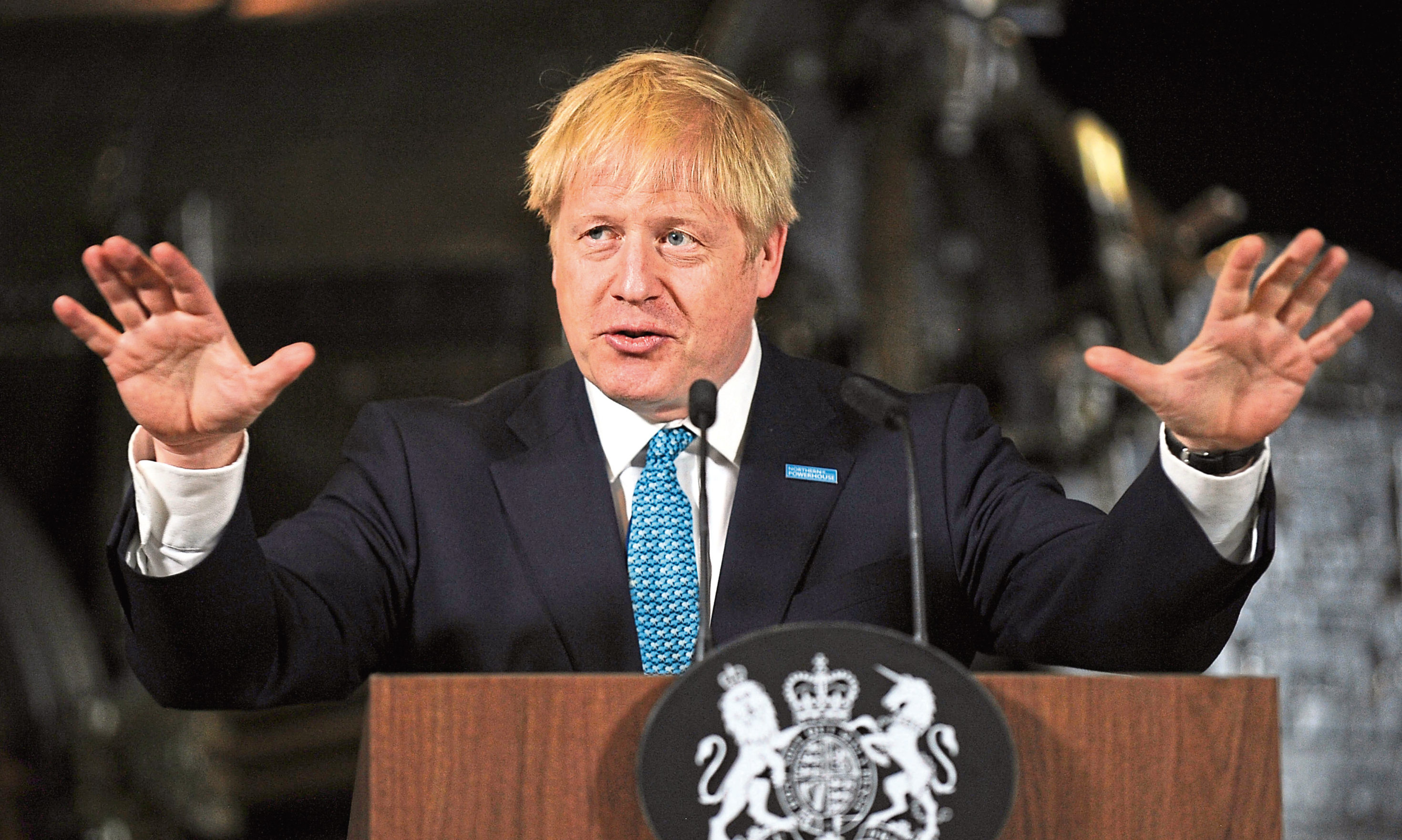 Prime Minister Boris Johnson giving a speech on domestic priorities at the Science and Industry Museum in Manchester.