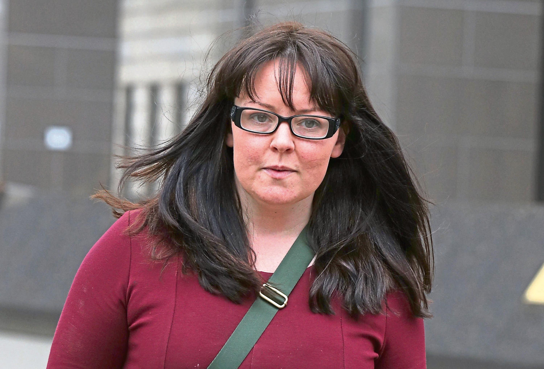 Natalie McGarry leaving Glasgow Sheriff Court.