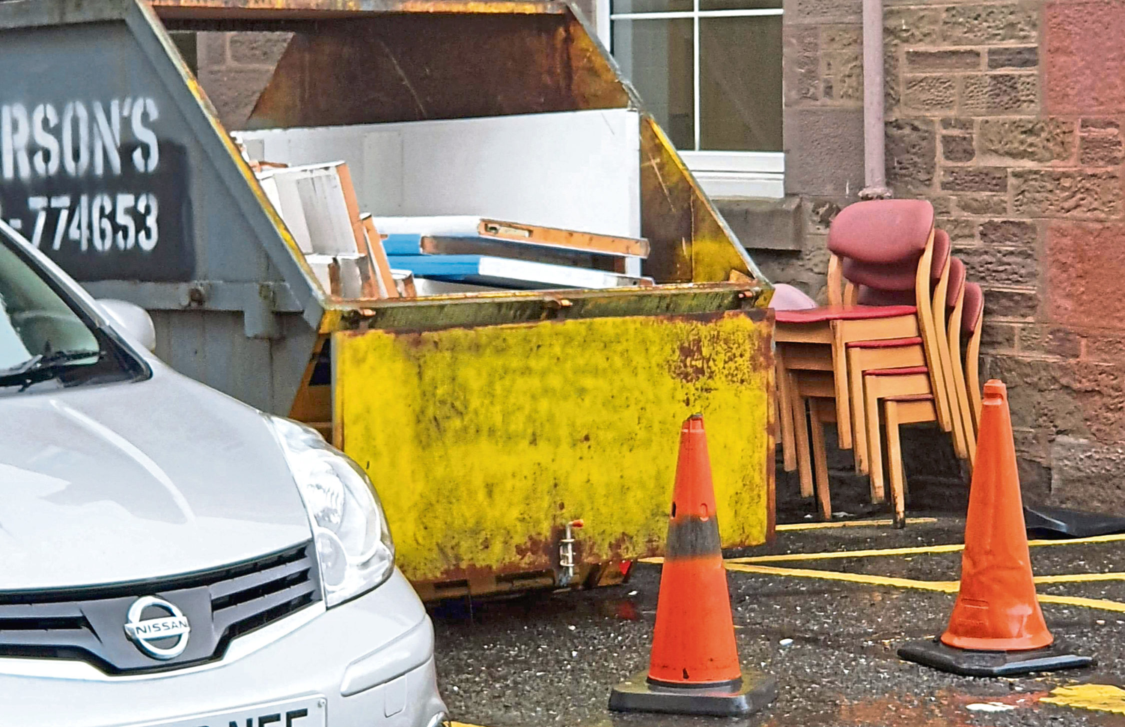 A cancer patient was unable to get parked in a blue-badge space at Arbroath Royal because a skip was placed there.