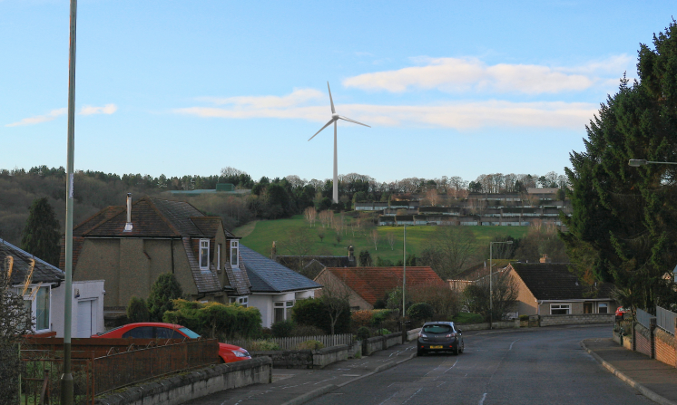 An artist's impression of the proposed turbine, from outside Viewlands Primary School.