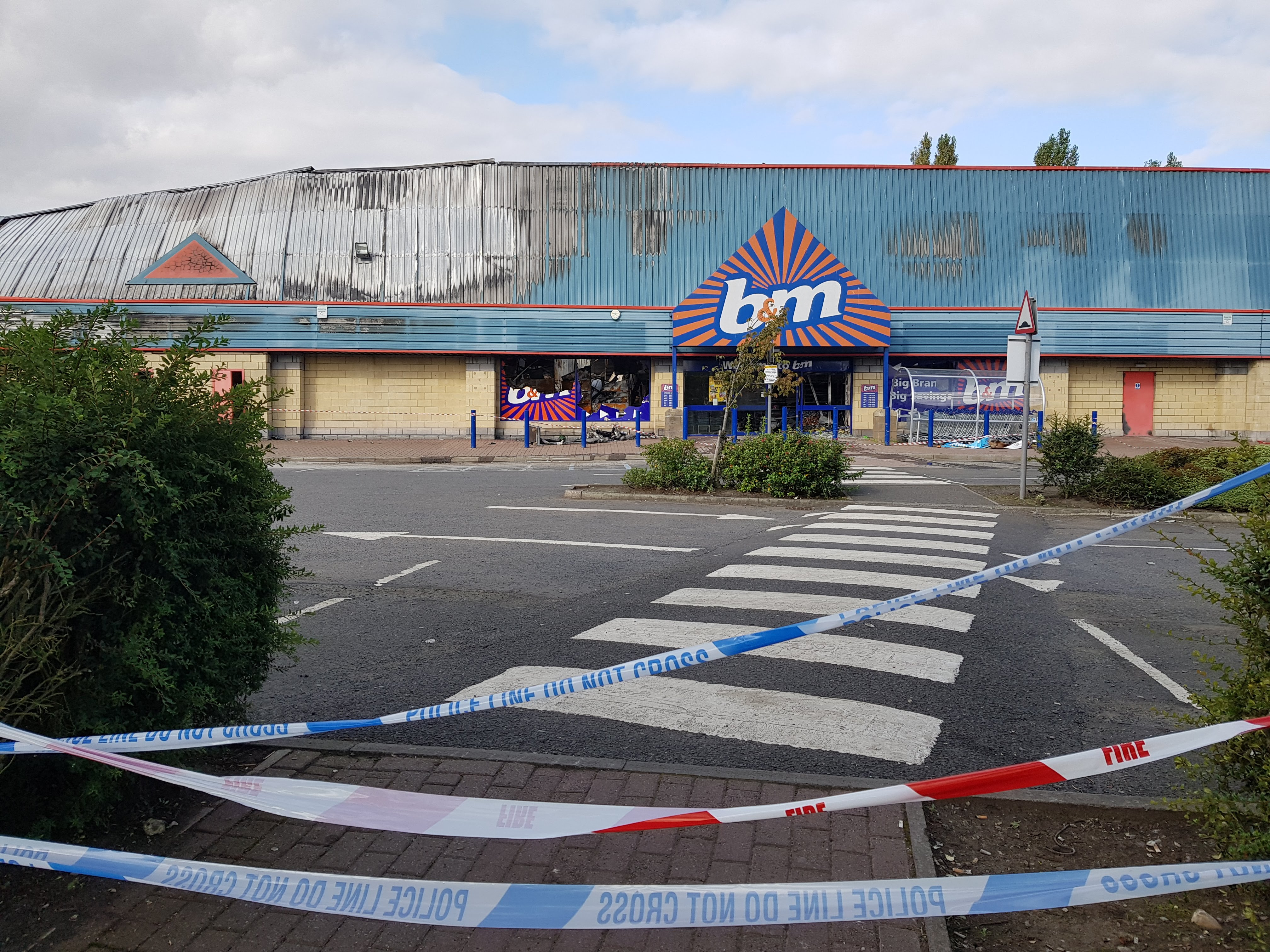 Cordoned off area after the B&M fire.