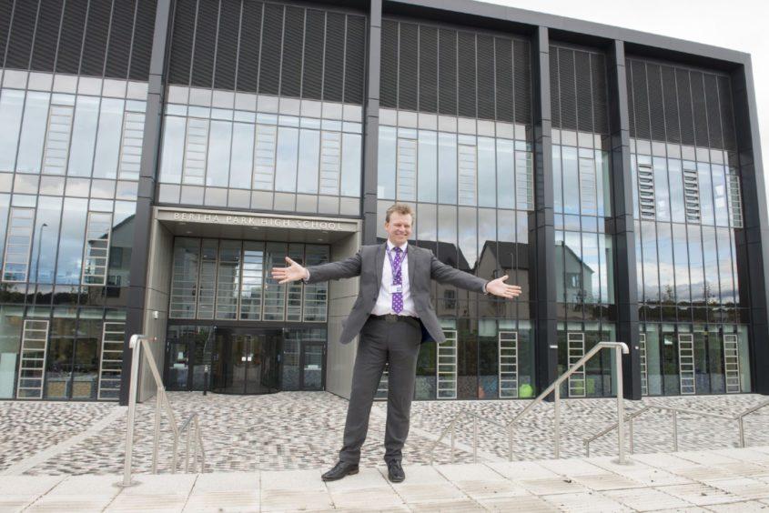 Head Teacher Stuart Clyde outside the new school.