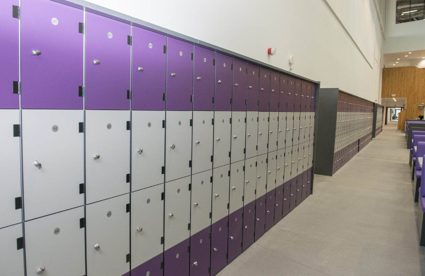 The many student lockers which will keep their phones all day.