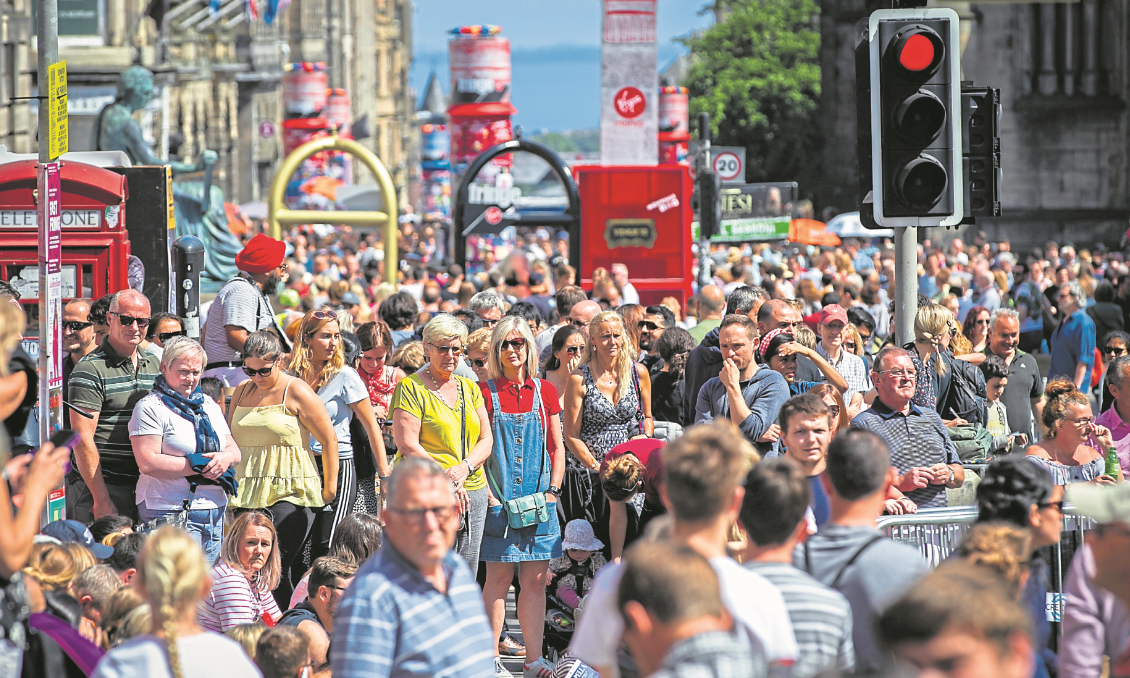 The Royal Mile in Edinburgh is usually teeming with tourists for the annual festival.