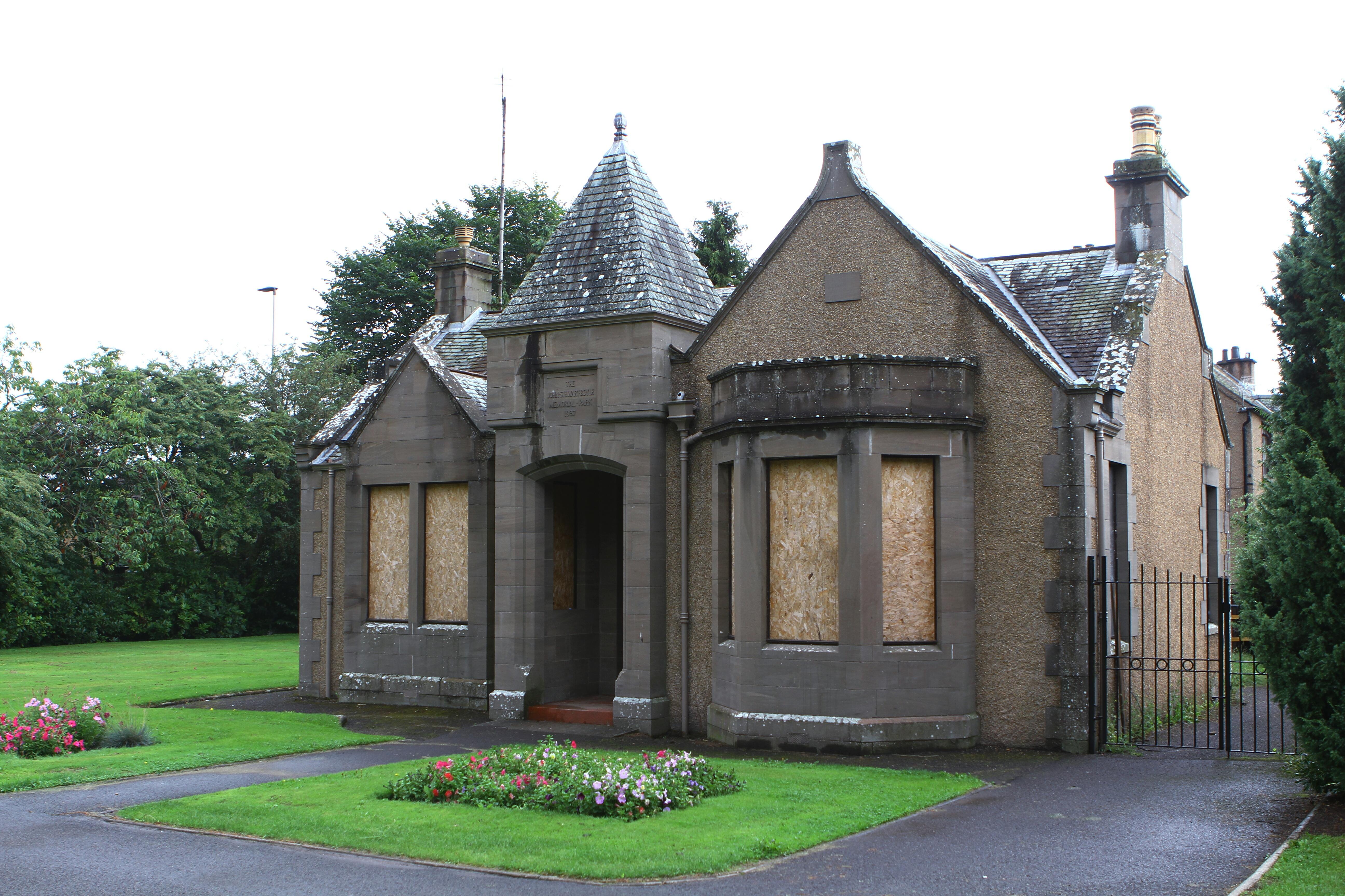 The former park keeper's cottage in Boyle Park, Forfar.