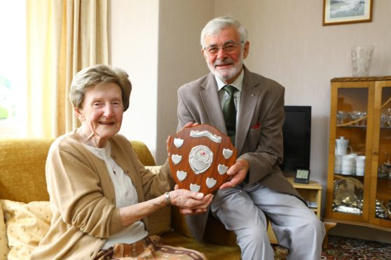 Violet Lawton and Forfar Horticultural Society president Jim Ewing.