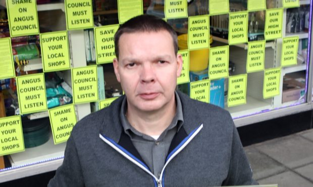 Bruce Robertson at his Hardware store in Brechin