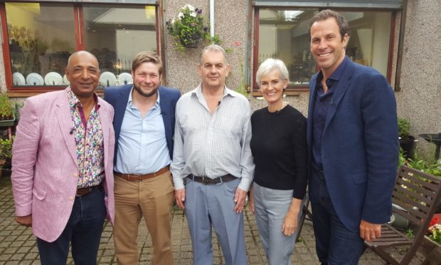 Raj Bisram, Angus Ashworth, Derek Pook, Judy Murray and Greg Rusedski outside Clepington Antiques and Collectables Centre on August 1.