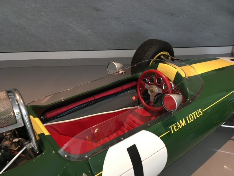 The cockpit of Clark's Lotus 25 F1 racer.