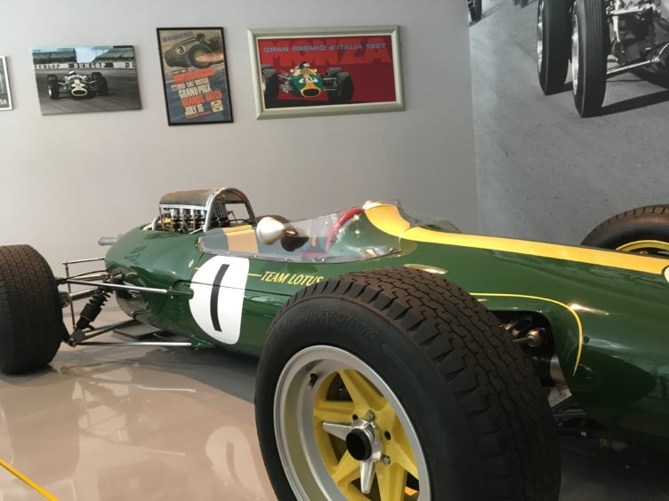 Jim Clark's Lotus 25 in the Duns museum.