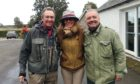 """Paul Whitehouse, Claire Mercer Nairne (with Bob's """"stolen"""" hat) and Bob Mortimer at Meikleour"""