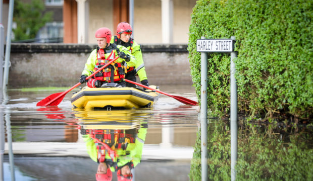 Residents had to be evacuated from houses in the Park Road area of Rosyth on Wednesday after intense rain fall saw houses flooded.