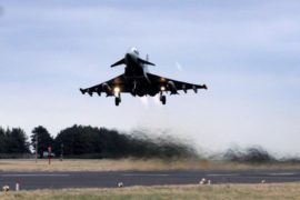 A Typhoon jet takes off at RAF Leuchars.