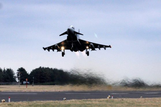 A Typhoon jet takes off.