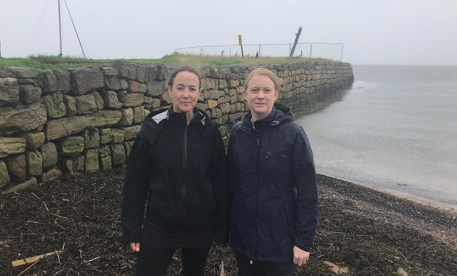 MSP Shirley-Anne Somerville (right) with Jo-Ann McFarlane at Limekilns beach.