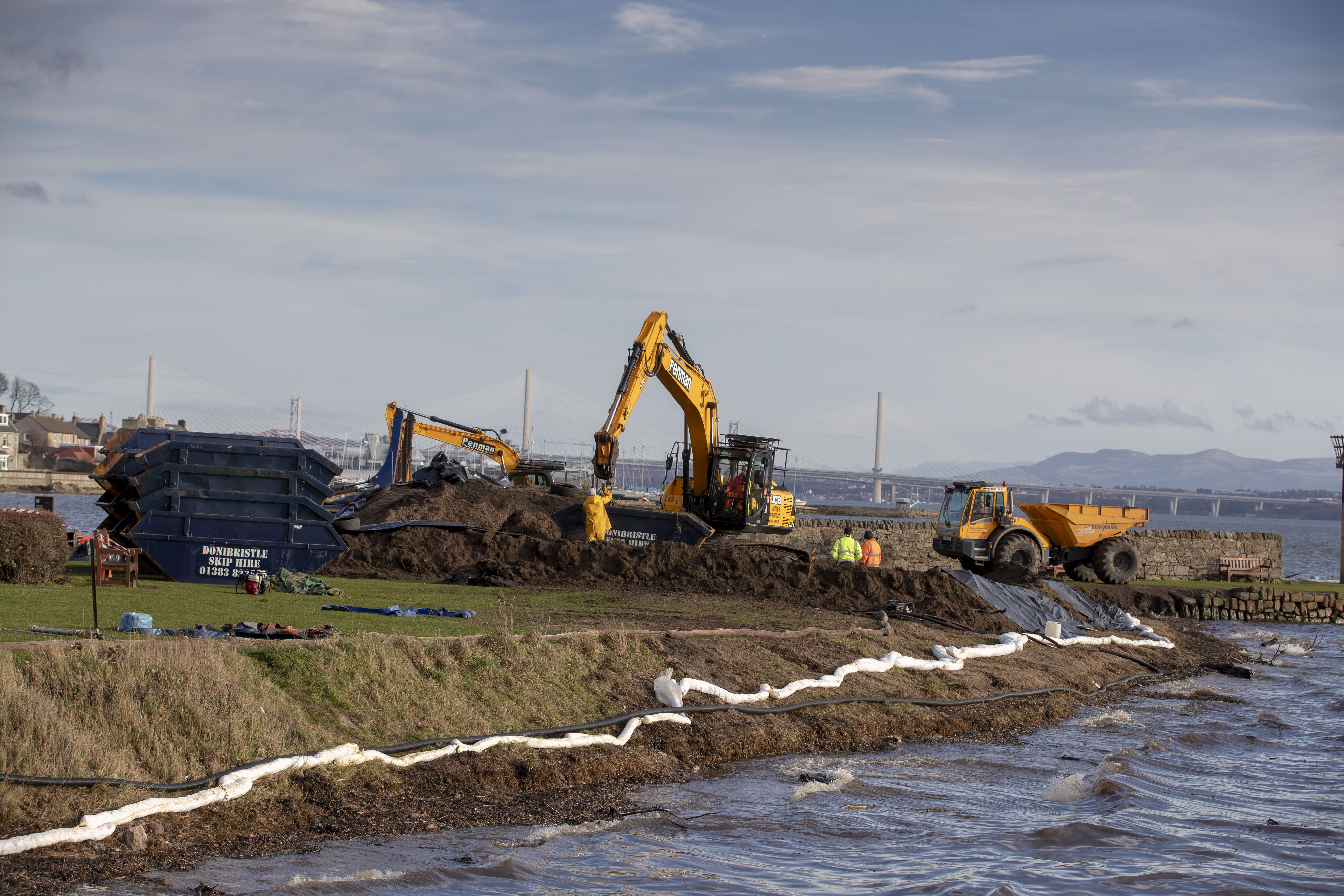 The clean up operation at Limekilns following the discovery of contamination on the local beach.