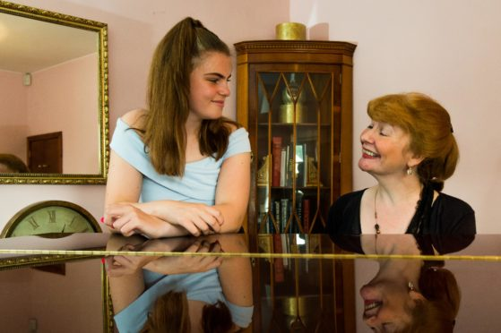 Maisie Dury, 14, from St Andrews, who will be performing at a fund raising for concert for the neurology dept at Ninewells hospital in Dundee, with music teacher Susie MacLeod of Ceres.