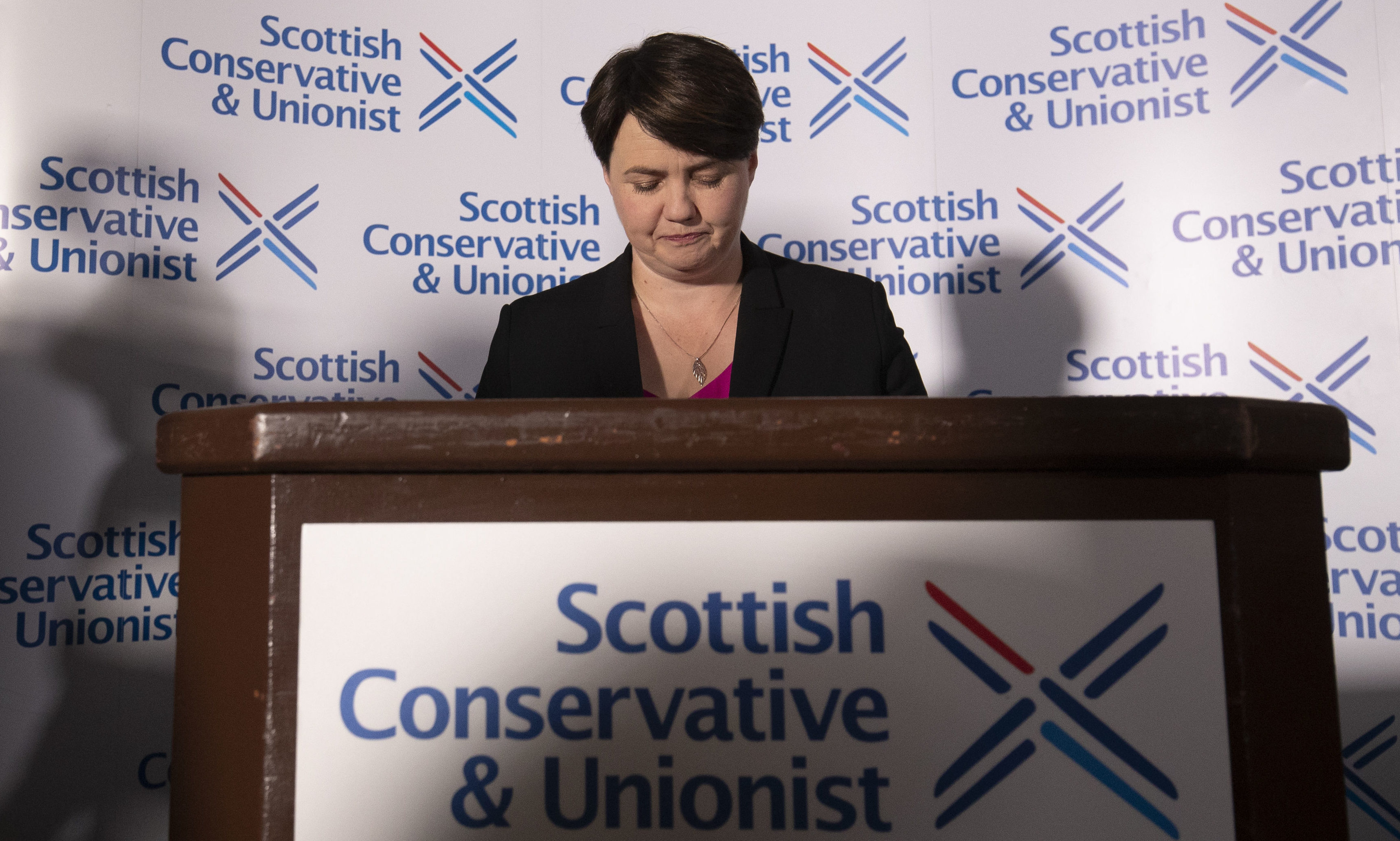 Ruth Davidson during a press conference following her announcement that she had resigned as leader of the Scottish Conservatives.