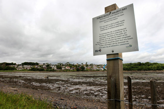 Signs were erected telling people to stay clear of affected parts of the shoreline.