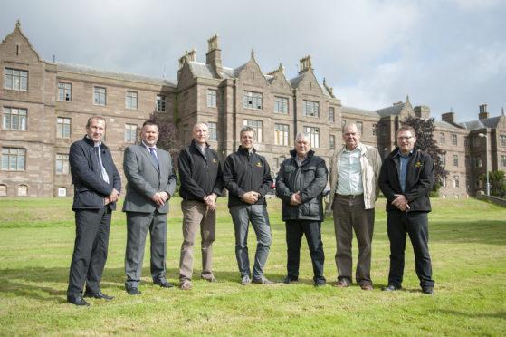 From left: Cllr Bill Duff, Cllr Mark Salmond, Jamie Pert, Craig Bruce, Cllr Tommy Stewart, Cllr, Ron Sturrock and David Stewart, from Pert Bruce