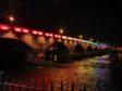 Perth Bridge with multi-coloured lighting.