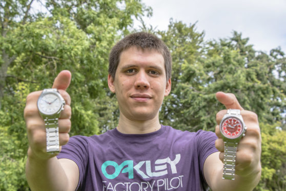 Philipp Schoenfisch with two of his watches