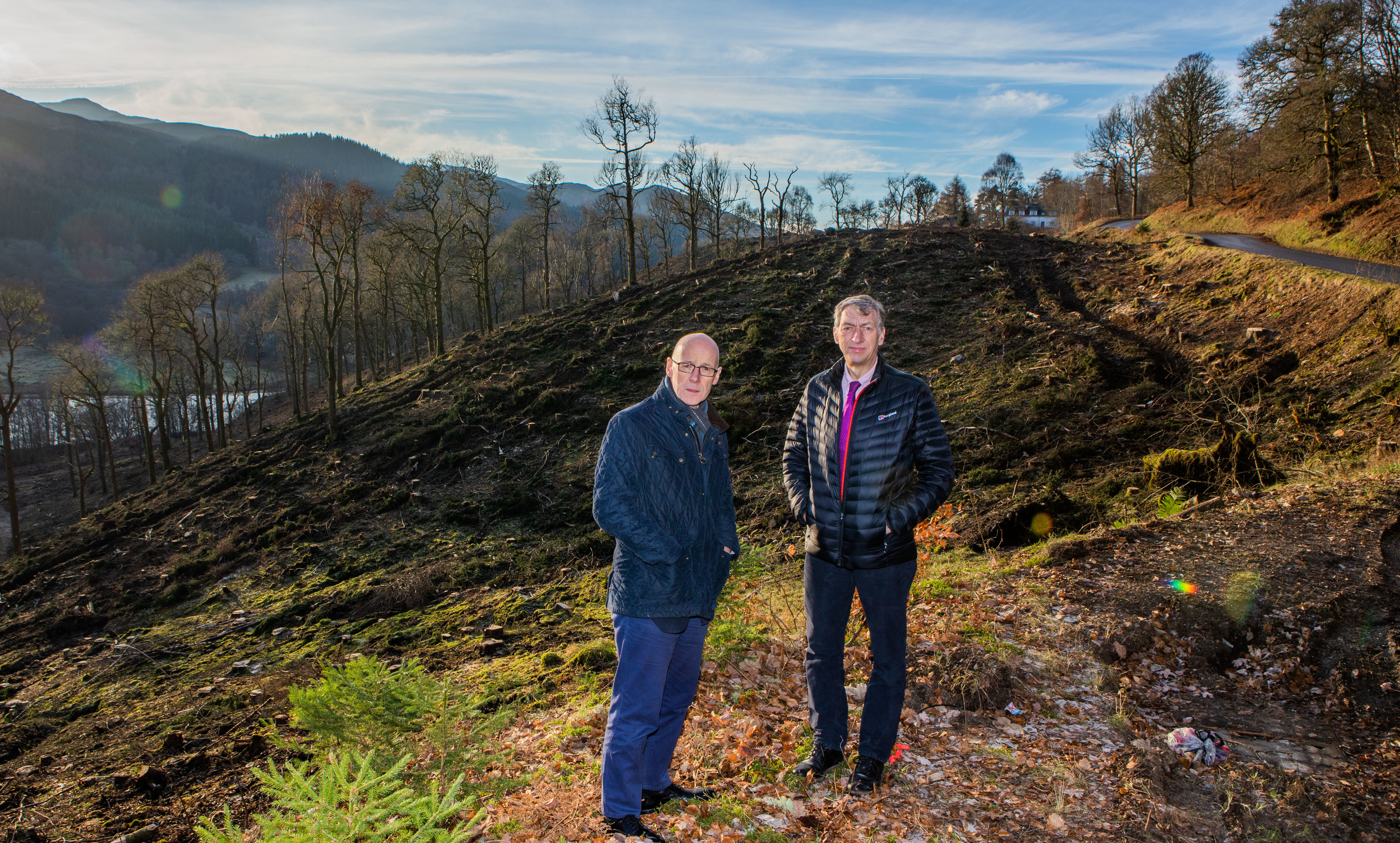 John Swinney MSP and councillor Mike Williamson at the Queen's View site