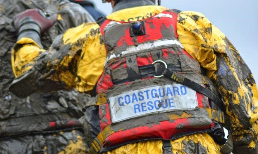 The coastguard crew during the rescue.