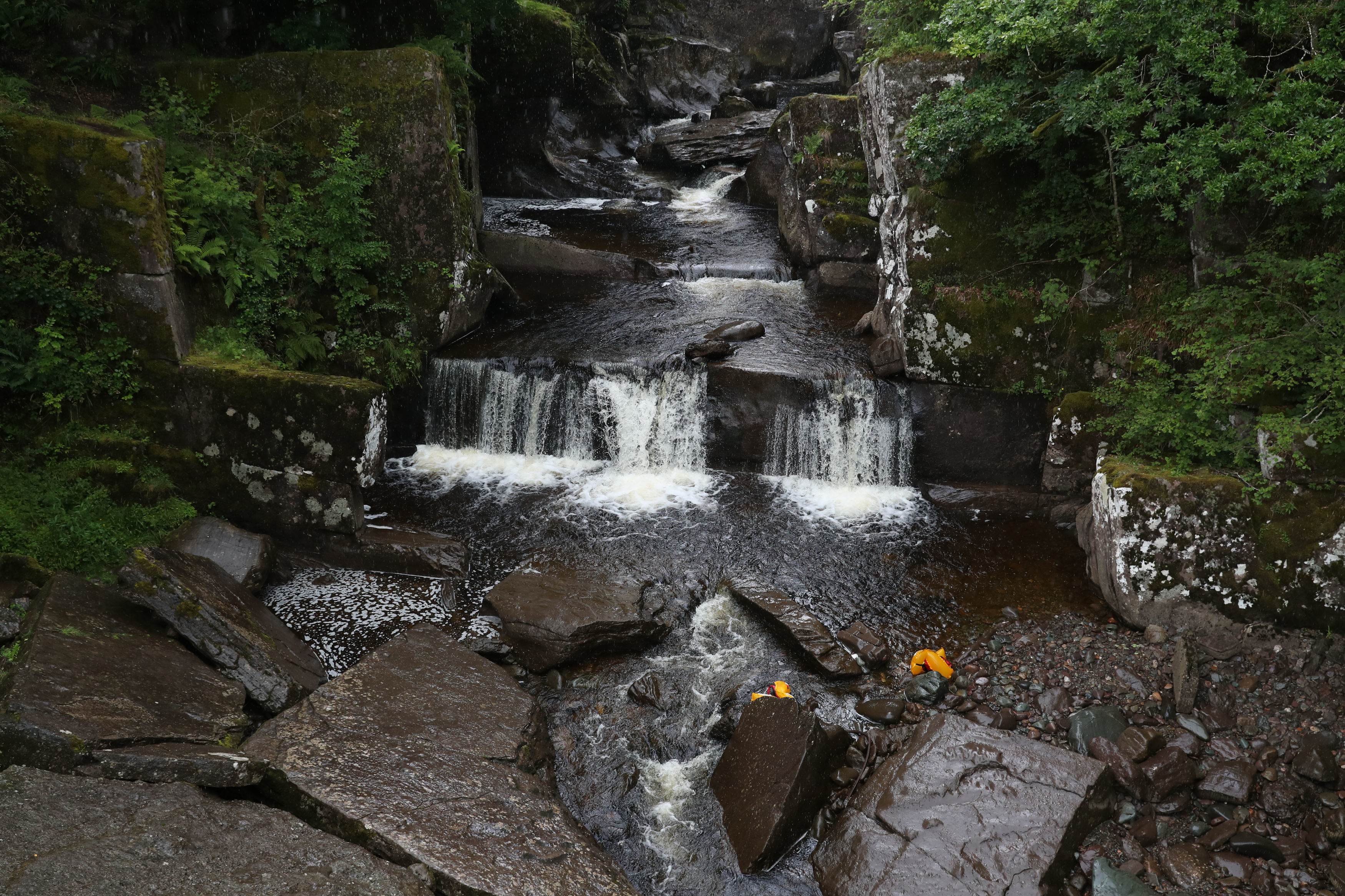 Buoyancy aids in the water at Bracklinn Falls, near Callander, Perthshire, where a search by the emergency services was carried out.