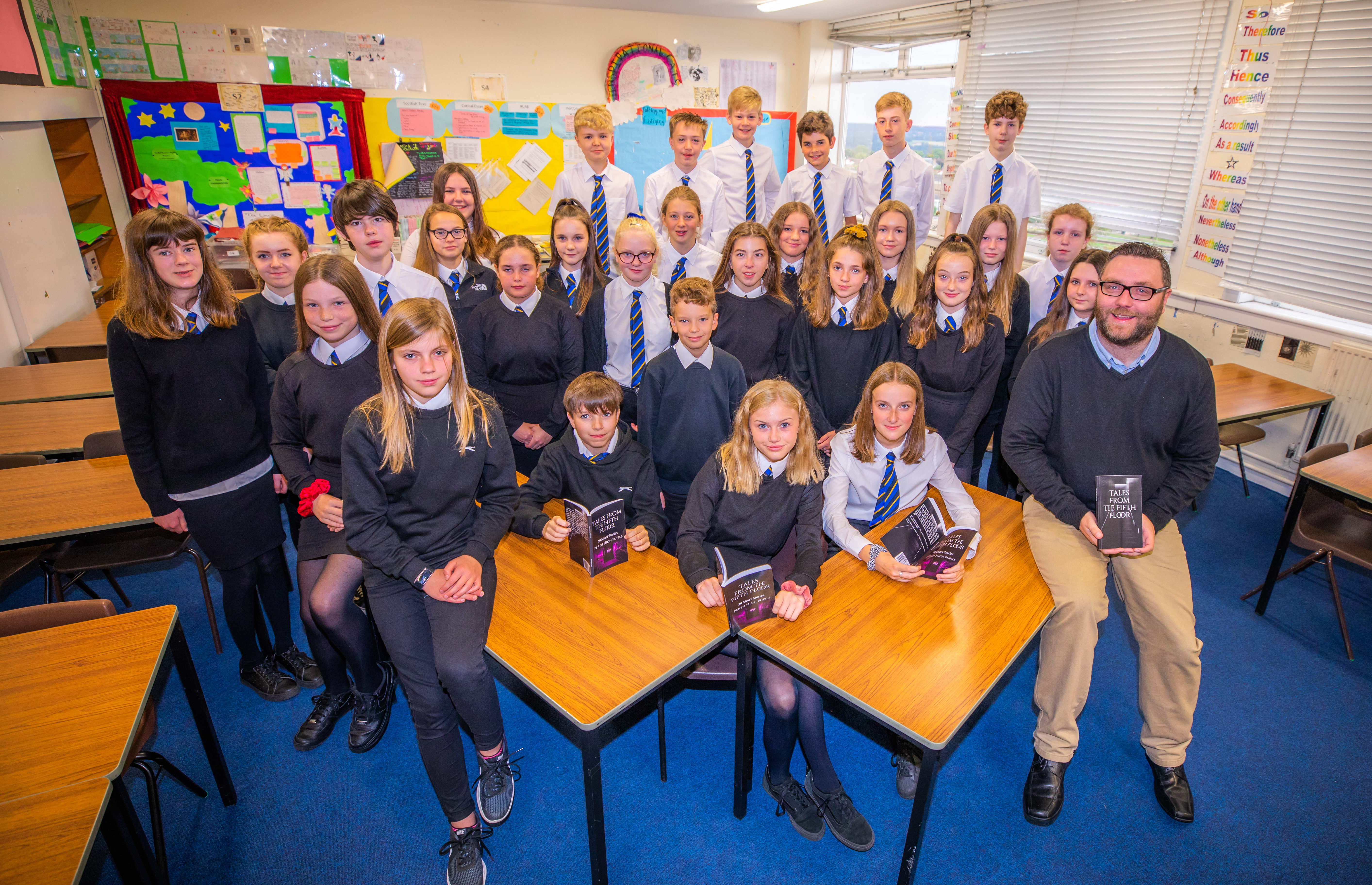 The S2 pupils behind the book publication in aid of WWF. Picture Credit - Steve MacDougall.