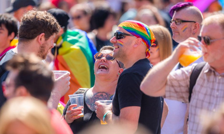 Crowds having fun at Perthshire Pride.