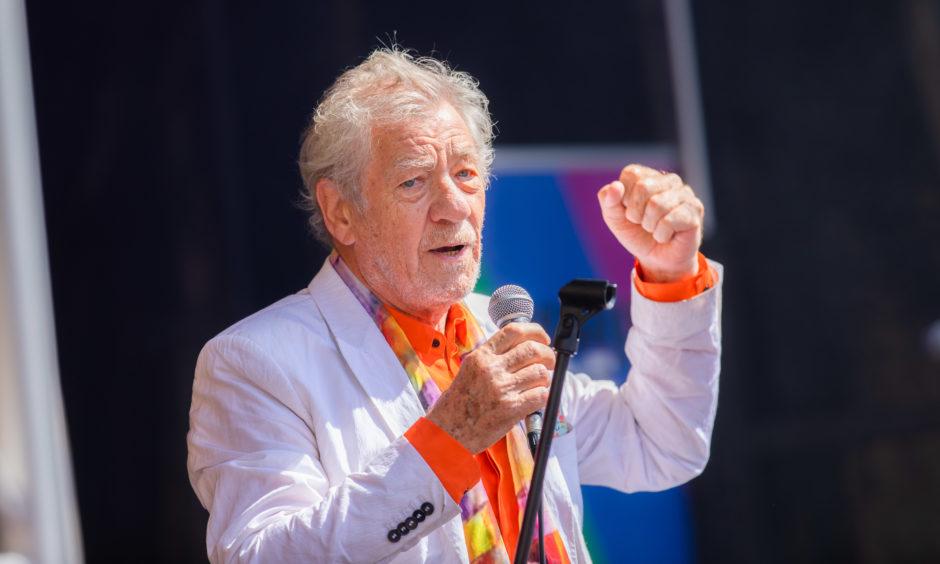 Sir Ian McKellen on stage.