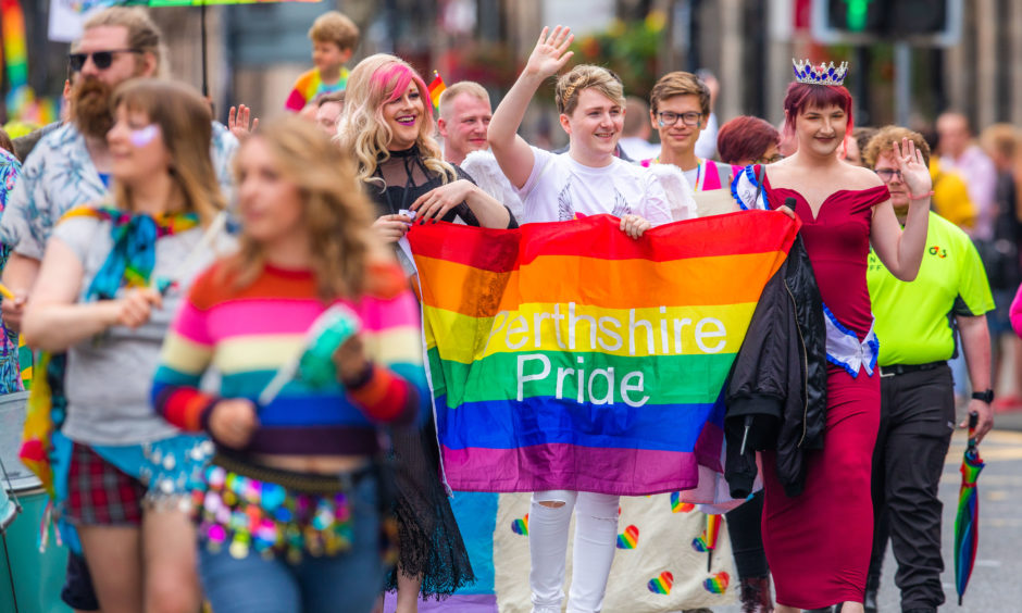 More than a thousand people took part in Perthshire Pride's first-ever parade.  All pictures by Steve MacDougall / DCT Media