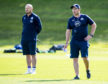 Scotland head coach Gregor Townsend (left) with assistant Matt Taylor at training yesterday.