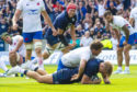 Chris Harris scores the key try as Scotland play France at Murrayfield in August.