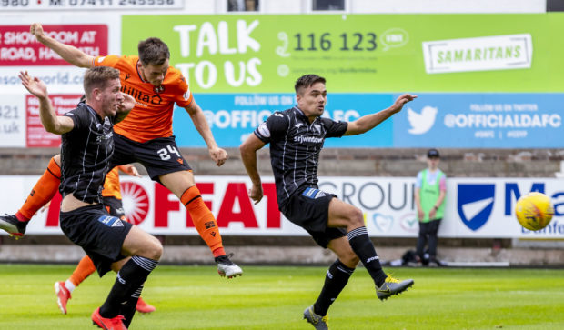 Lawrence Shankland heads Dundee United into a 2-0 lead.