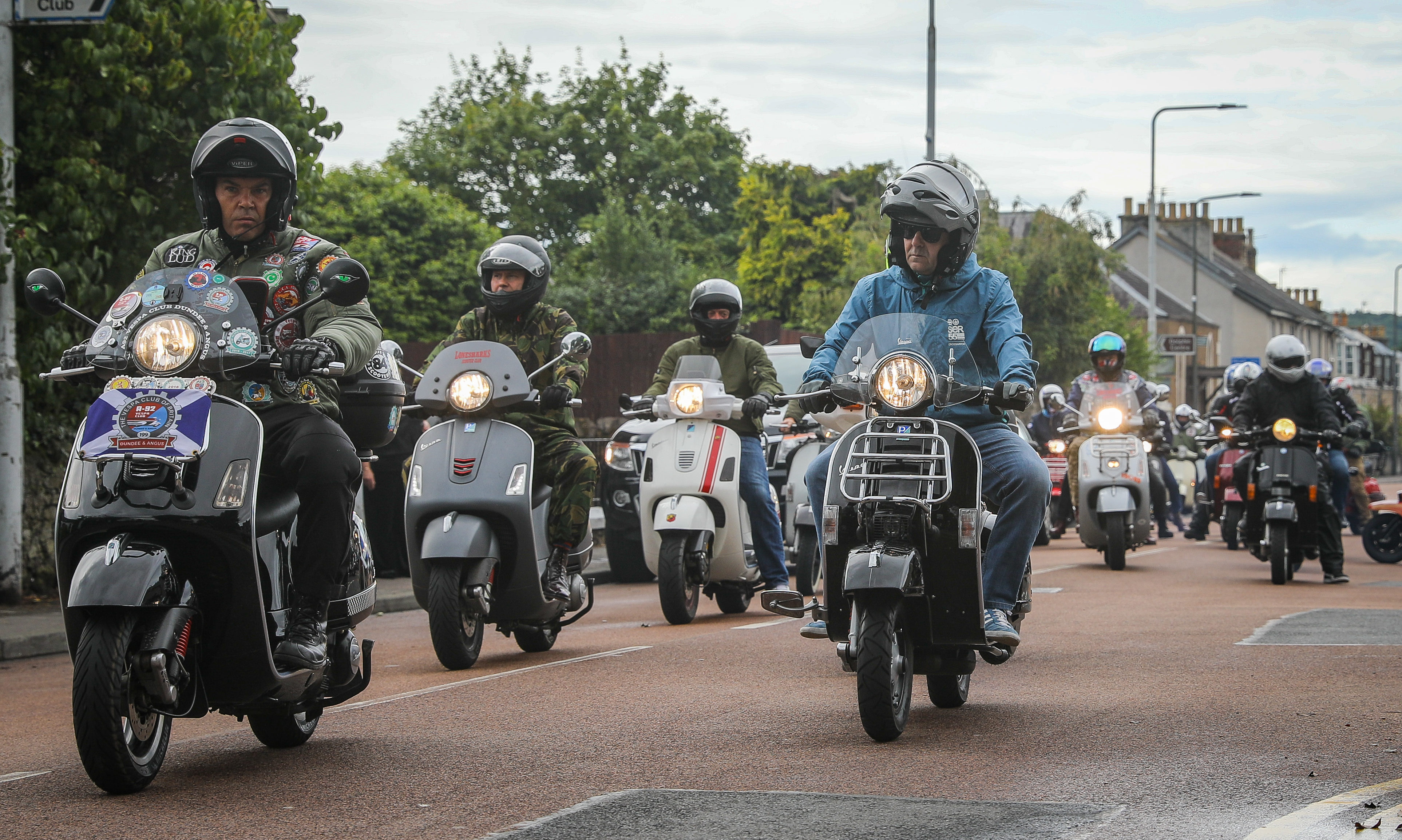 Motorcyclists in Tayport for Andrew Hart's funeral procession.